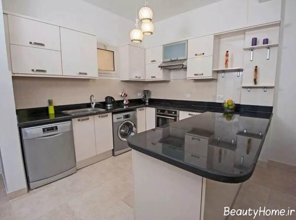 طراحی داخلی آشپزخانه مستطیلی