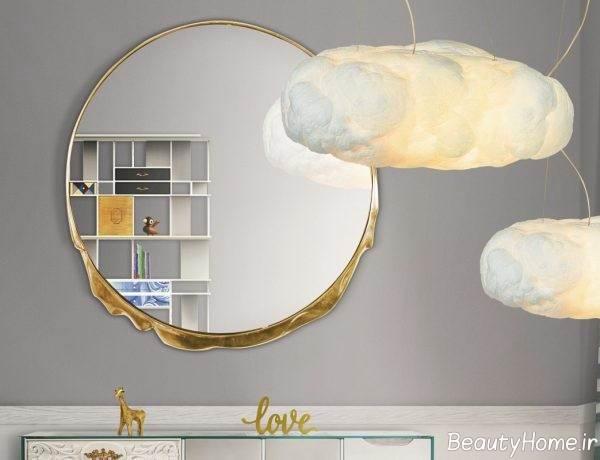 آینه دیواری زیبا و گرد