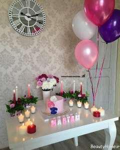تزیین میز تولد با شمع