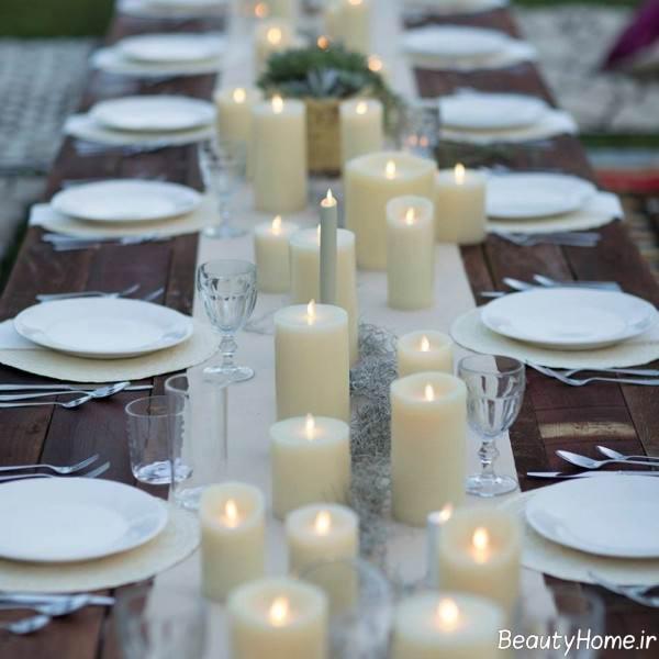 زیباسازی میز به کمک شمع