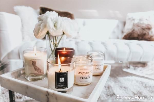 شمع آرایی زیبا روی میز