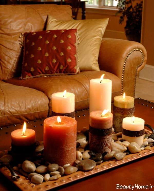 شمع آرایی ساده روی میز