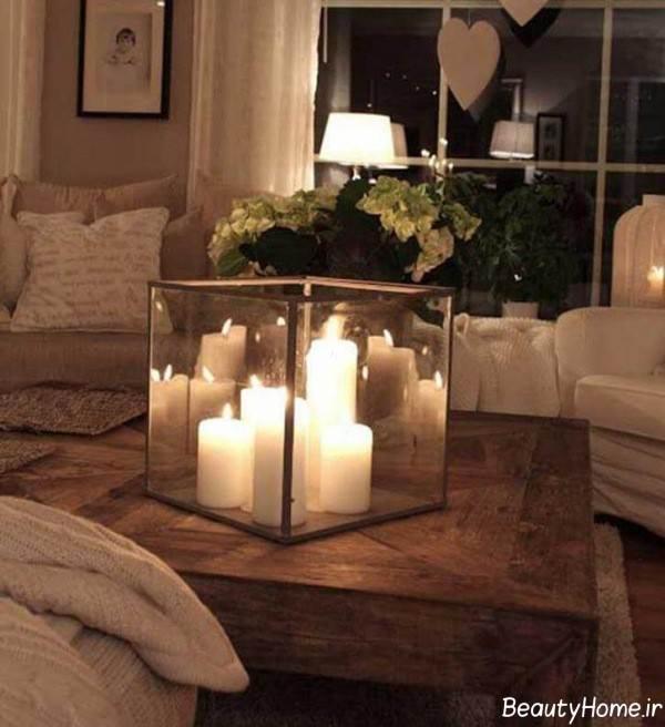 تزیین ساده میز با شمع