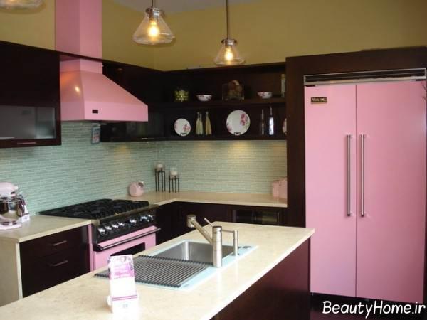 دکوراسیون آشپزخانه با تم صورتی