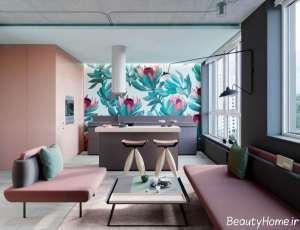 طراحی داخلی خانه صورتی