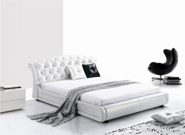 تختخواب سفید چرمی