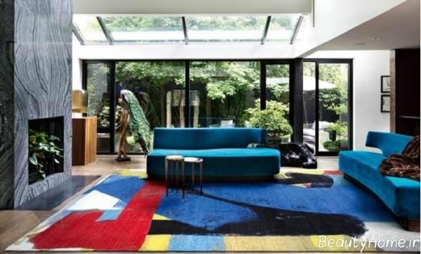 فرش رنگی و فانتزی مخصوص سالن پذیرایی