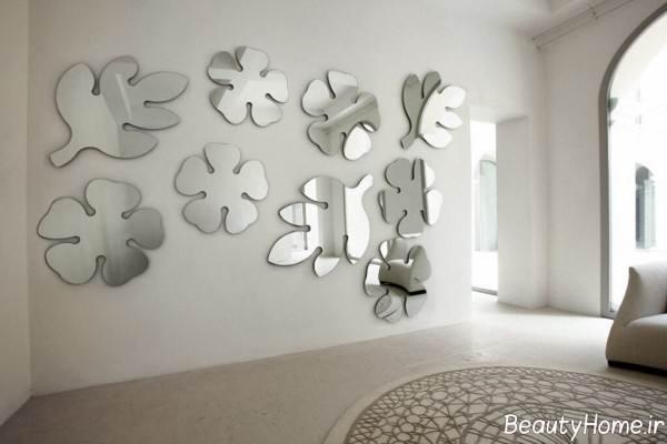 تزیین دیوار اتاق پذیرایی با آینه