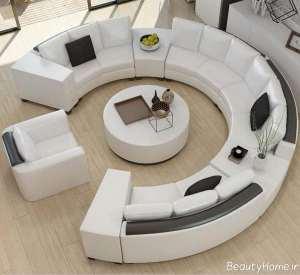 مدل مبل سفید دایره ای