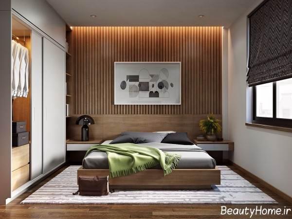 تزیین دیوار پشت تخت با پنل چوبی