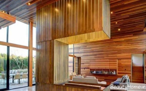 دیزاین داخلی منزل با پانل چوبی