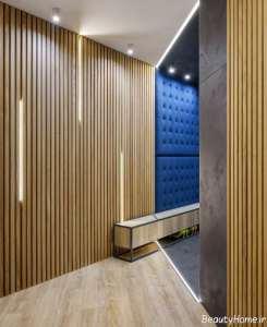طراحی دکوراسیون راهرو با پنل چوبی