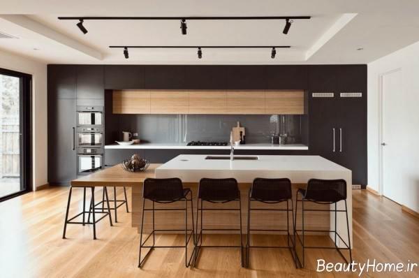 طرح کابینت آشپزخانه مشکی