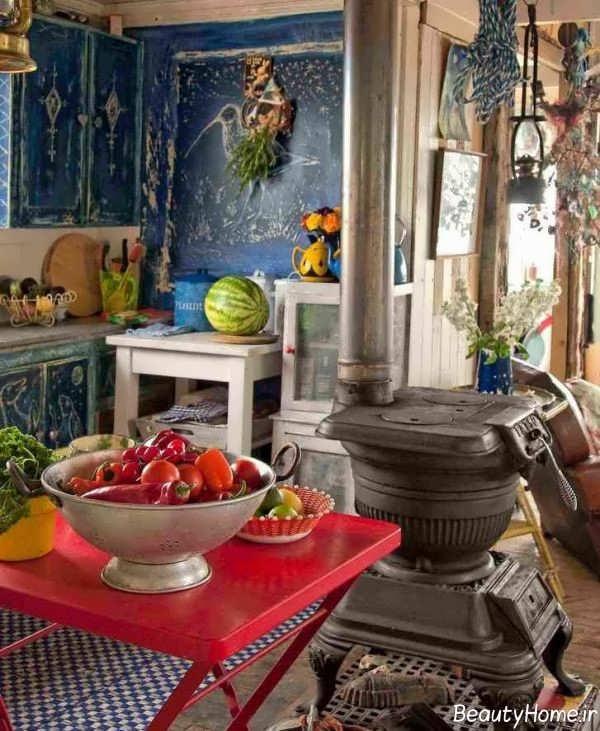 دیزاین داخلی آشپزخانه بوهمین