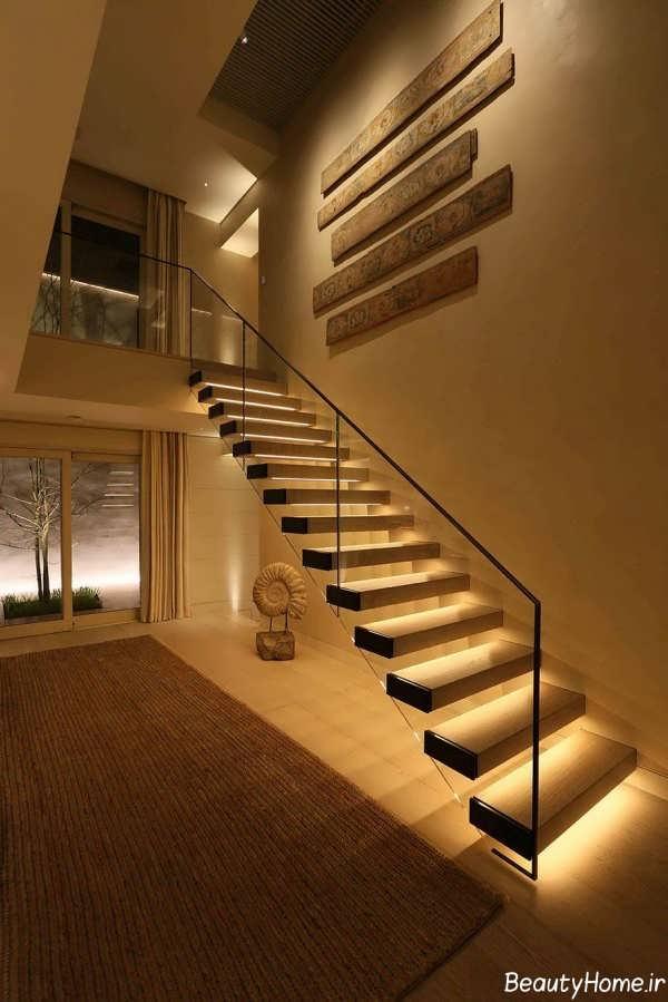 دیزاین نورپردازی شیک و کاربردی برای پله ها