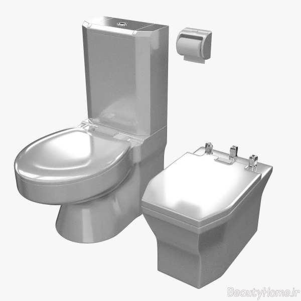 توالت فرنگی زیبا و نقره ای