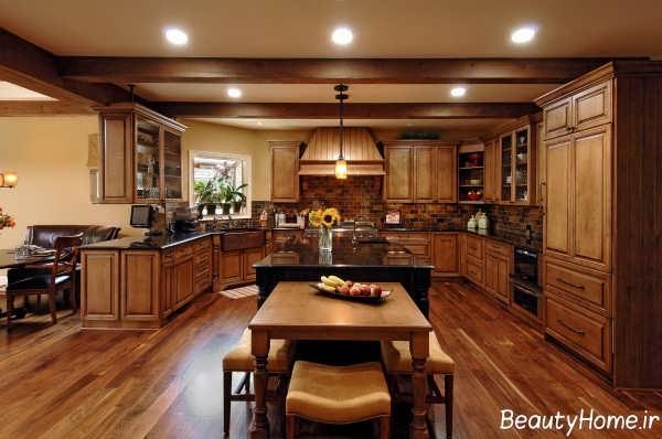 دکوراسیون آشپزخانه قهوه ای رنگ