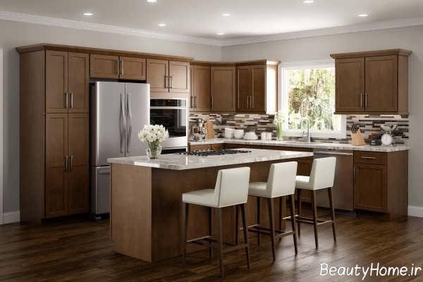دکوراسیون داخلی آشپزخانه قهوه ای