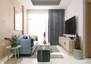 طراحی داخلی نشیمن با رنگ های آرام