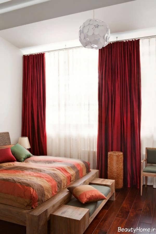مدل پرده قرمز برای اتاق خواب