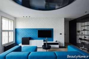 دکوراسیون آبی و سفید تی وی روم