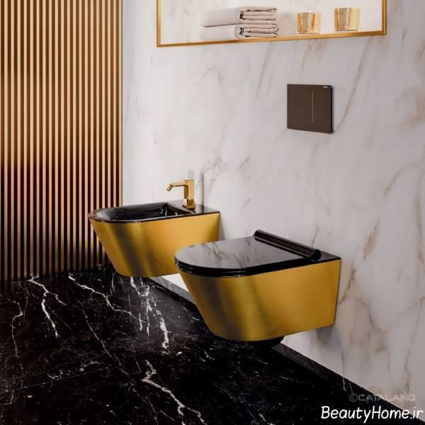 مدل توالت فرنگی دو رنگ