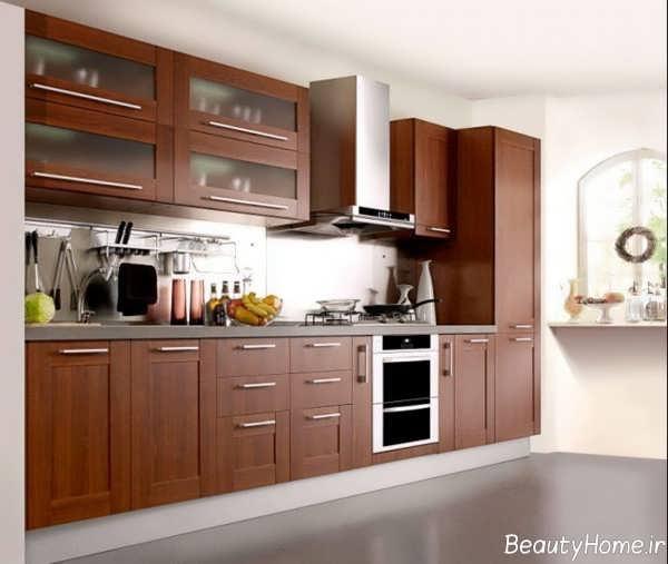 کابینت قهوه ای برای آشپزخانه