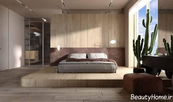دکوراسیون اتاق خواب شیک و چوبی