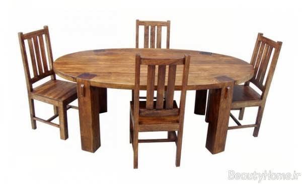میز غذاخوری بیضی چوبی