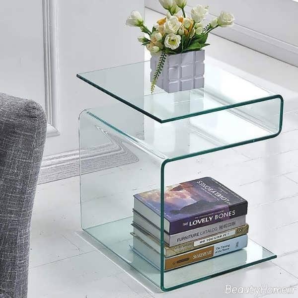 میز پذیرایی شیشه ای