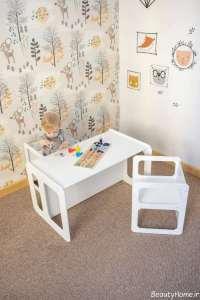 طرح میز صندلی سفید