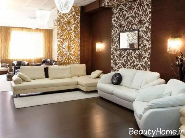 کاغذ دیواری قهوه ای برای اتاق پذیرایی