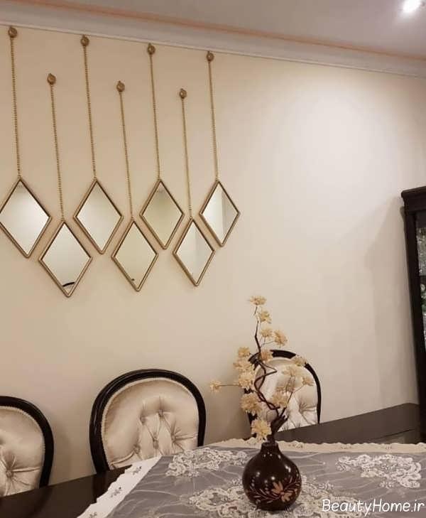 تزیین ساده و زیبا آینه با نشیمن