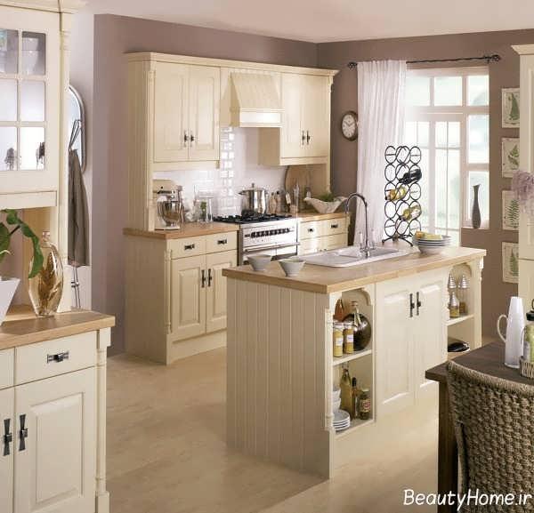 دکوراسیون آشپزخانه کرم رنگ