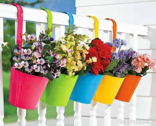 تزیین تراس با گلدان