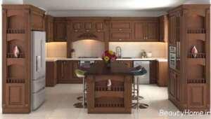 کابینت آشپزخانه قهوه ای