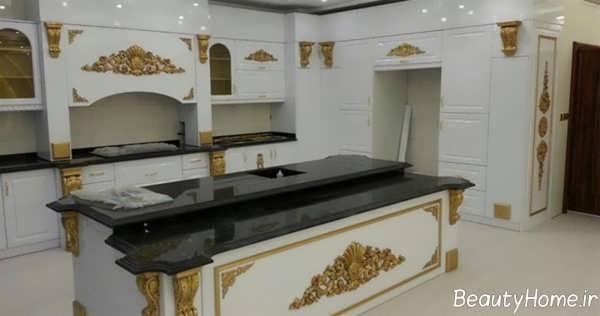 کابینت آشپزخانه سفید و طلایی