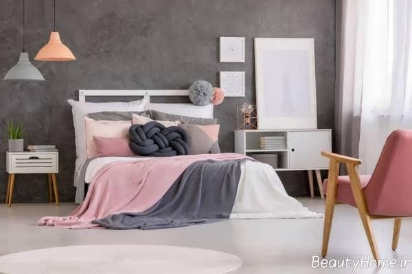 اتاق خواب طوسی و صورتی