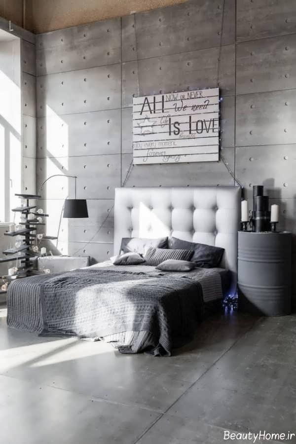 اتاق خواب سفید و طوسی