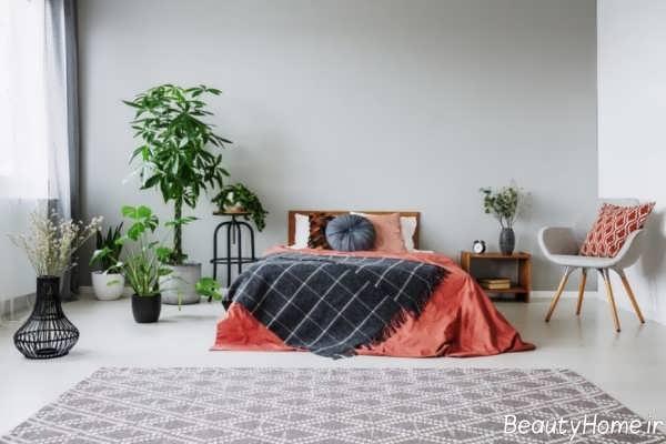 اتاق خواب شیک طوسی