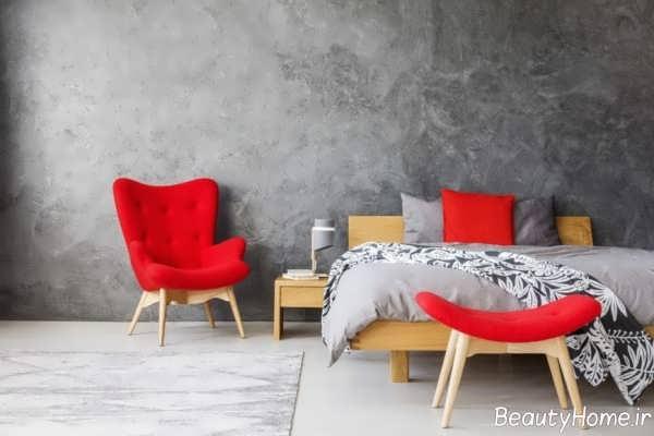 اتاق خواب طوسی و قرمز