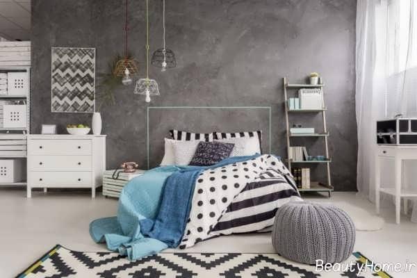 اتاق خواب طوسی و آبی