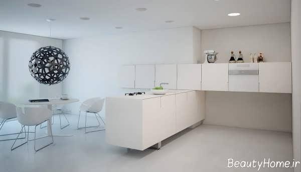 دکوراسیون آشپزخانه سفید بدون پنجره