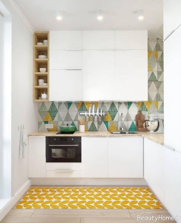 طراحی زیبا و شیک آشپزخانه بدون پنجره