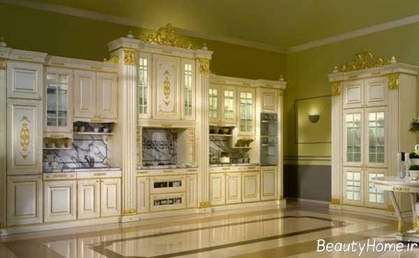 کابینت سفید و طلایی