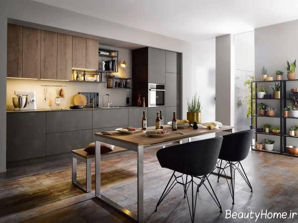 کابینت رنگ تیره برای آشپزخانه