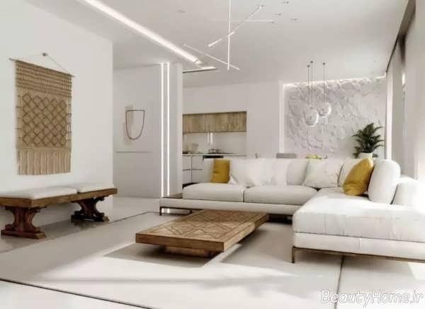 طراحی داخلی پذیرایی سفید