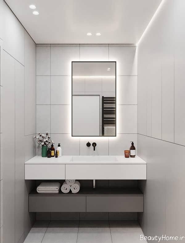 نورپردازی سرویس بهداشتی سفید