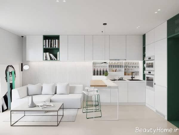 طراحی داخلی آشپزخانه ب رنگ سفید