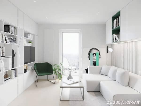 طرحی داخلی خانه کوچک با رنگ سفید
